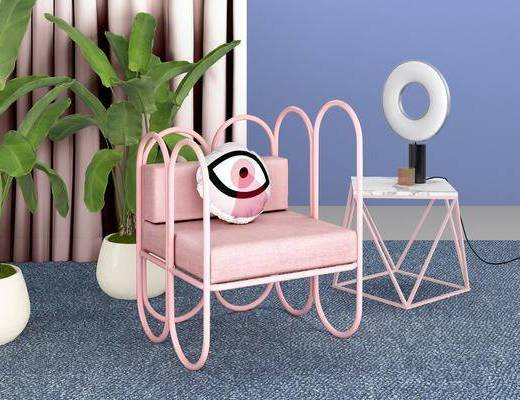 沙发组合, 时尚沙发, 单人沙发, 双人床, 边几, 茶几, 单人椅, 盆栽, 台灯, 北欧