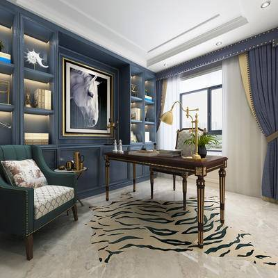 书桌, 挂画, 单椅, 窗帘, 文件柜
