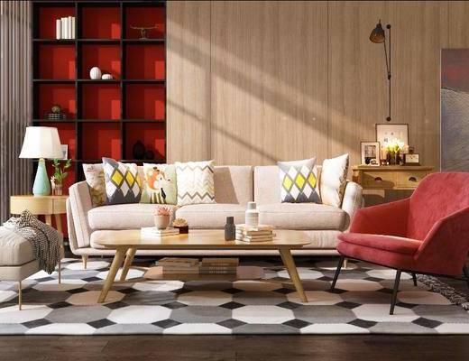 沙发组合, 抱枕, 边几, 台灯, 单椅, 茶几, 摆件组合