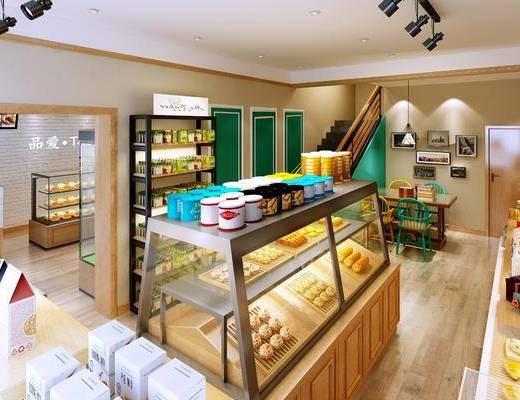 甜品店, 蛋糕店, 现代蛋糕店, 展示柜, 雪柜, 蛋糕, 甜品, 食物, 置物架, 吧台, 吧椅, 吊灯, 现代, 双十一
