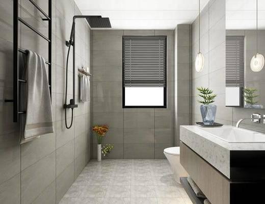 卫浴, 洗浴组合, 洗手盆, 吊灯