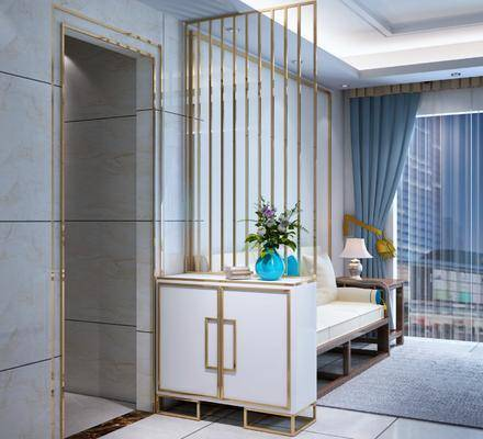 金属鞋柜, 边柜, 装饰柜, 多人沙发, 边几, 台灯, 摆件, 新中式