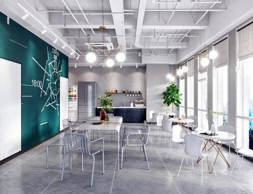 茶水间, 休息区, 吊灯, 桌椅组合