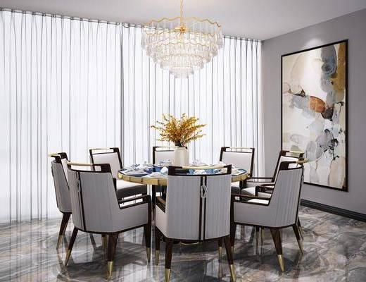 餐桌椅组合, 圆桌椅组合, 餐具组合, 吊灯, 新中式