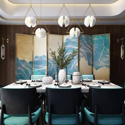 餐厅, 餐桌椅, 桌椅组合, 屏风, 吊灯, 单椅, 椅子, 餐具, 新中式, 中式