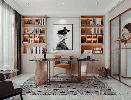 现代, 轻奢, 书房, 家装