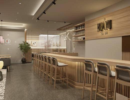 日式餐厅, 吧台, 吧椅, 桌椅组合, 吊灯, 寿司店