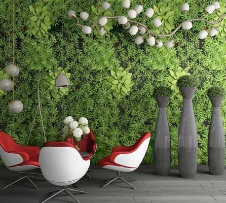 植物墙, 桌子, 单人椅, 落地灯, 吊灯, 花卉, 休闲桌椅, 现代