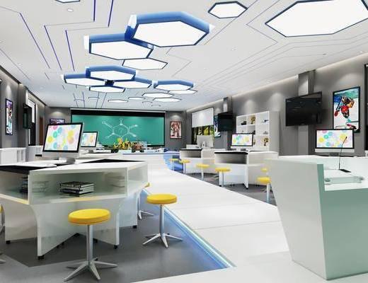 科技教室, 活動室, 吸頂燈, 辦公桌椅組合, 現代