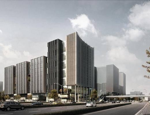 办公楼, 公共建筑, 树木, 人物, 汽车, 绿植植物, 陆地灯, 现代