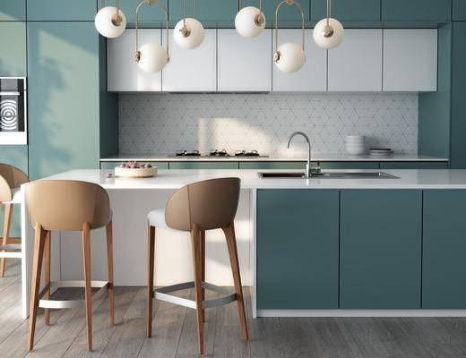 橱柜厨房, 吧台吧椅, 单人椅, 吊灯, 洗手台, 现代