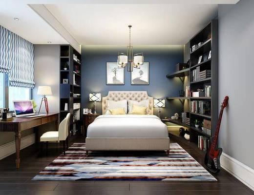 儿童房, 卧室, 双人床, 床头柜, 台灯, 书柜, 书籍, 装饰柜, 吉他, 书桌, 单人椅, 装饰画, 挂画, 吊灯, 现代