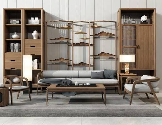 沙发茶几, 书柜, 屏风, 新中式, 中式, 沙发, 单人沙发, 多人沙发, 置物柜, 装饰柜