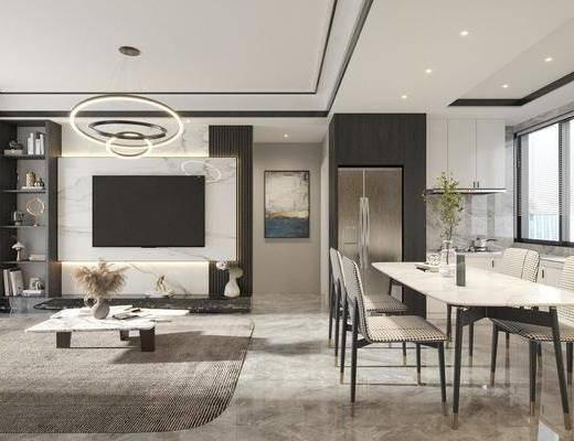 沙发组合, 茶几组合, 吊灯, 餐桌, 酒柜