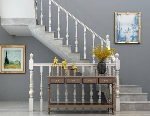 楼梯扶手, 栏杆, 装饰画, 挂画, 边柜组合, 花瓶花卉, 案几, 边几, 装饰品, 陈设品, 美式