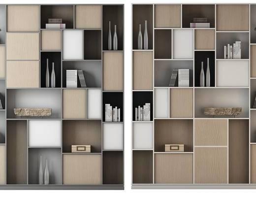 现代, 装饰柜, 书籍, 摆设