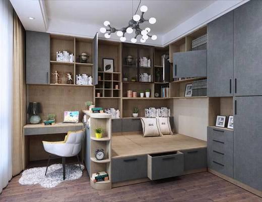 柜子, 吊灯, 书桌, 椅子, 书柜, 书籍
