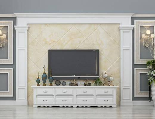 电视墙, 边柜, 摆件, 壁灯, 欧式