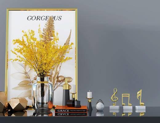 现代摆件组合, 花瓶, 挂画