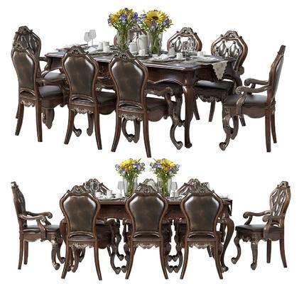 美式, 古典, 餐桌椅, 桌椅组合, 椅子, 单椅, 桌子, 餐具, 花瓶