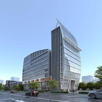 综合楼, 商业楼盘, 门面门头, 树木, 绿植植物, 汽车组合, 人物组合, 现代