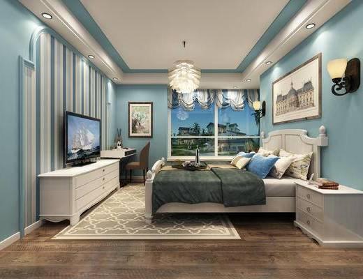 卧室, 床头柜, 床尾凳, 双人床, 单人床, 吊灯, 挂画, 壁灯