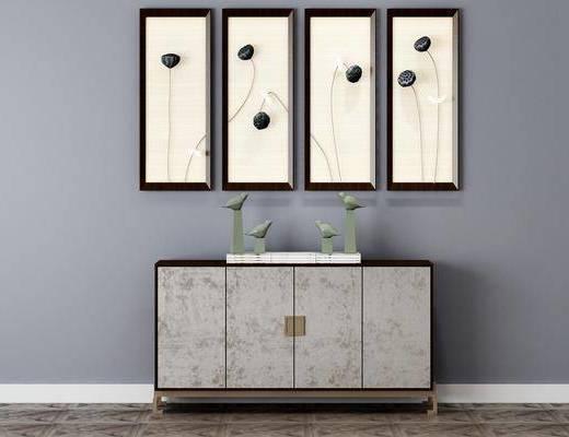 边柜, 置物柜, 挂画, 端景台