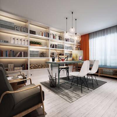 书房, 茶几, 单人椅, 装饰柜, 书柜, 书籍, 单人沙发, 边几, 吊灯, 现代