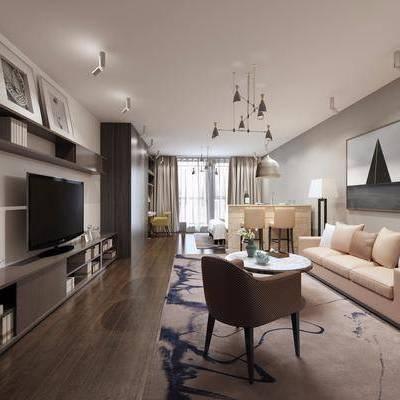 客厅, 沙发组合, 装饰画, 挂画, 电视柜, 现代, 北欧, 吊灯, 单椅