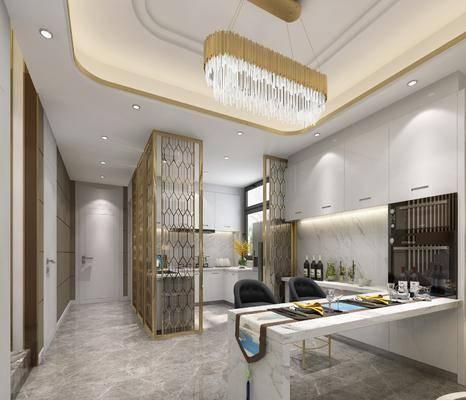 厨房, 橱柜, 吧台, 吧椅, 摆件, 装饰品, 陈设品, 吊灯, 现代