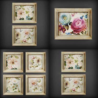 植物画, 花卉, 挂画, 现代花卉挂画, 组合, 现代
