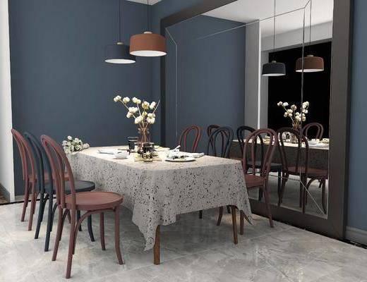 餐桌组合, 桌椅组合, 餐具, 吊灯组合, 北欧