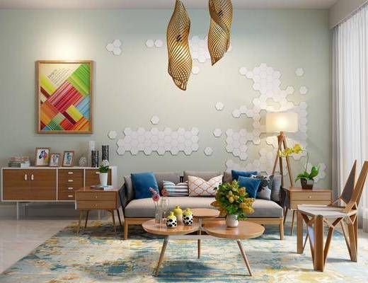 沙发组合, 多人沙发, 茶几, 单人椅, 电视柜, 装饰柜, 边柜, 摆件, 落地灯, 吊灯, 装饰品, 陈设品, 北欧