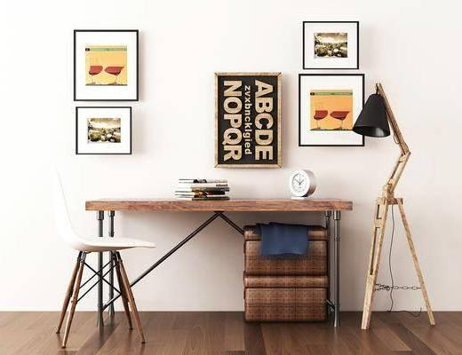 书桌, 单人椅, 落地灯, 装饰画, 摆件, 现代