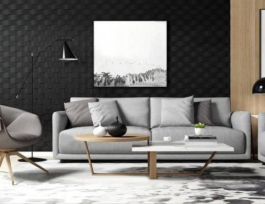 北欧简约, 沙发茶几组合, 落地灯, 植物盆栽, 陈设品, 北欧