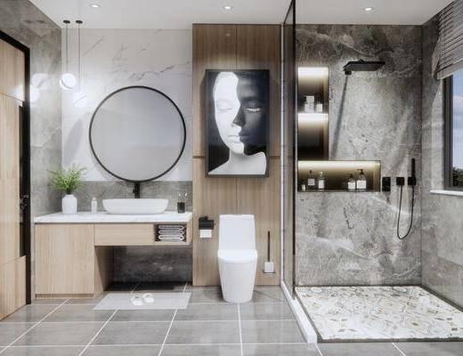 卫浴, 浴柜, 壁镜, 马桶, 浴缸