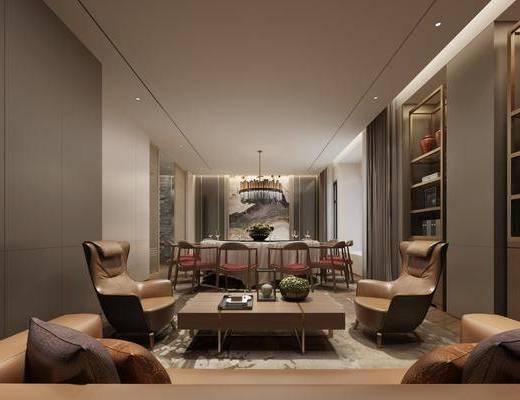 包房, 餐桌, 餐椅, 单人椅, 茶几, 吊灯, 装饰架, 新中式