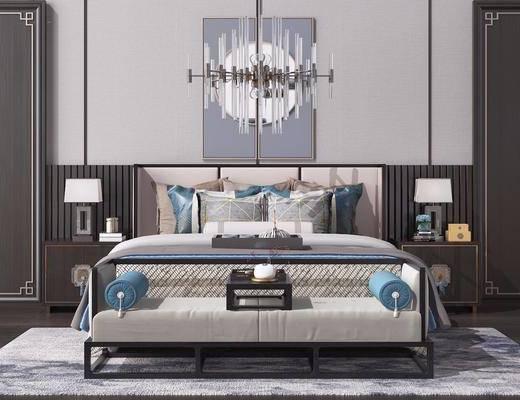 床头柜, 吊灯, 挂画, 双人床, 床尾踏