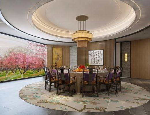 餐桌, 桌椅组合, 吊灯, 摆件组合, 餐具组合, 装饰画
