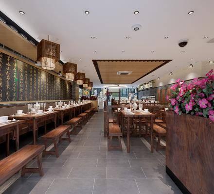 餐厅, 快餐店, 餐桌, 单人椅, 吊灯, 餐具, 花卉, 中式