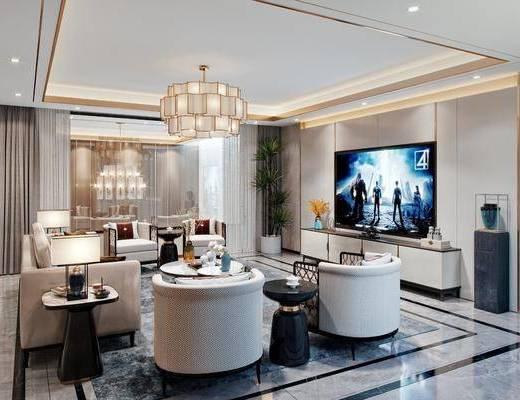 沙发组合, 吊灯, 电视柜, 装饰品, 单椅