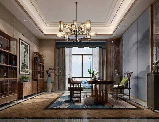书房, 新中式书房, 桌椅组合, 博古架, 吊灯, 盆栽, 摆件组合