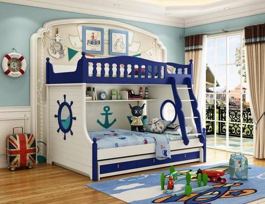 单人床, 上下铺, 玩具, 地毯, 墙饰, 窗帘