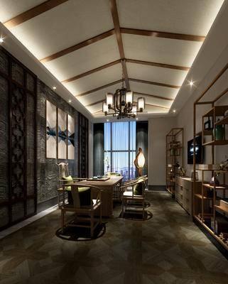 茶馆包间, 茶桌, 单人椅, 装饰画, 装饰架, 边柜, 装饰柜, 电视柜, 吊灯, 落地灯, 装饰品, 陈设品, 中式