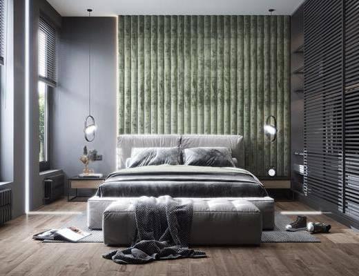 双人床, 衣柜, 灯具, 沙发凳, 装饰品, 摆件, 暖气片, 窗户