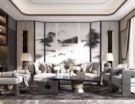 沙发, 茶几, 台灯, 吊灯, 书柜, 床尾踏, 挂画, 椅子