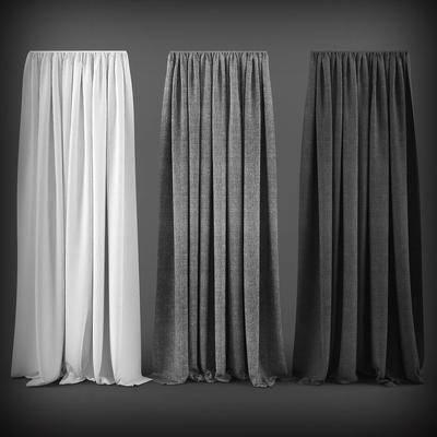 窗帘, 现代, 灰色窗帘
