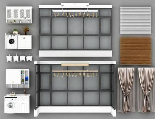 落地窗, 窗帘, 衣架, 储物柜, 洗衣机, 摆件, 现代窗帘, 现代落地窗, 现代
