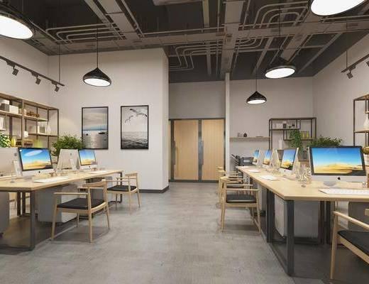 现代办公司, 办公桌, 电脑, 吊灯