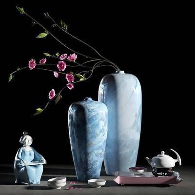 花瓶, 花瓣, 雕塑, 装饰品, 盆栽